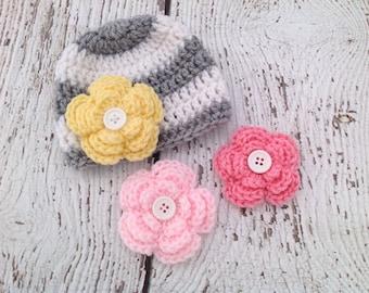 Baby Girl Hat, Crochet Baby Girl Hat, Newborn Hat, Newborn Photo Shoot, Baby Girl Flower Hat, Removable Flower Hat, Baby Hat, Newborn Hat