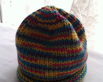 Hand knit baby hat multi color stripe 0-6 months