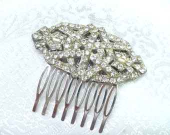 Vintage Bridal Hair Comb - silvertone pot metal - Art deco RHINESTONE - vintage WEDDING - GATSBY wedding - vintage bridal - bridesmaid