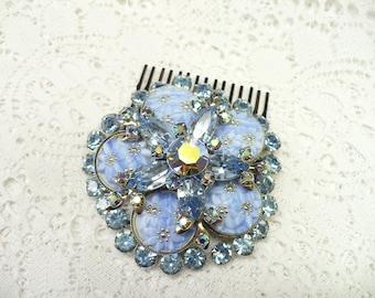 Vintage Bridal or Formal Hair Comb - silver tone - Light BLUE RHINESTONE - Aurora Borealis - Flower cabochons - Something blue - WEDDING