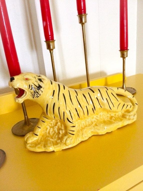 Vintage Lemmon Yellow Ceramic Wild Tiger Planter Vase
