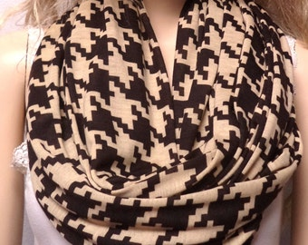 Houndstooth Tan & Brown Infinity Scarf  Super SOFT Jersey Knit