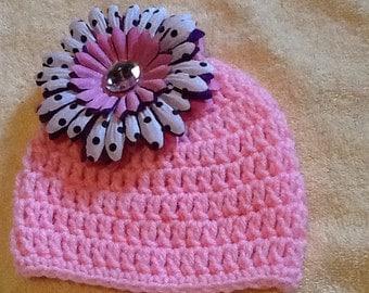 Newborn Baby Pink Flower Baby Beanies