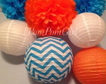 CIRCUS CIRCUS / 4 Tissue Paper Pom Poms/4 Paper Lanterns / Baby Shower, Birthday, Wedding, Bridal Shower, Nursery Decor, Dr. Suess