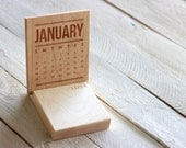 Standing Desktop Monthly Calendar - Solid wood engraved design