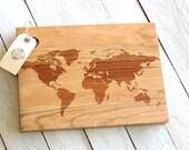 World Map Cutting Board - Rustic, Modern Wooden Design