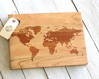 World Map Cutting Board Cherry