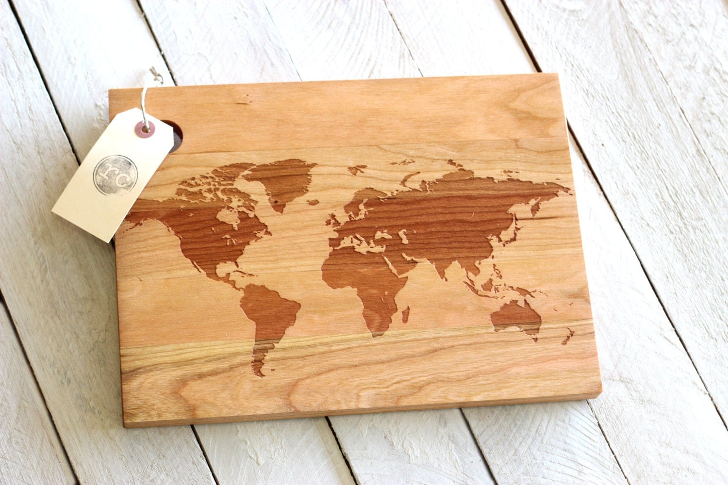 Rustic Wood Boards ~ World map cutting board rustic modern wooden design