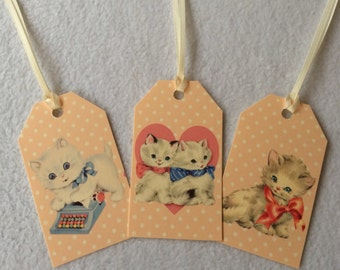 Retro Style Pretty Kitty Cat Gift Tags, set of 10, Cute Kittens, vintage shabby chic