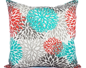 Indoor Outdoor Pillows - Two Turquoise and Orange Pillow Covers - Patio Pillow - Couch Pillow Cushion Cover Turquoise Orange Grey Pillow
