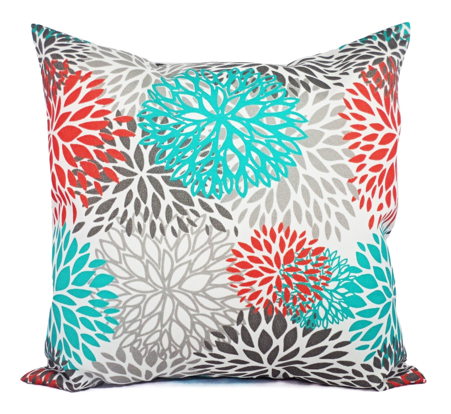 Indoor Outdoor Pillows Two Turquoise and Orange Pillow