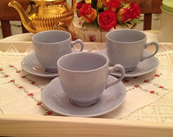 Vintage Utility Johnson Bros set of 5 pale blue Teacups and Saucers. 1940s utility Earthenware.
