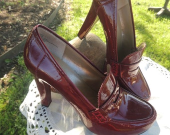 VS000003 Vintage Me Too LORRE Candy Apple Red Patent Leather Platform Heels Retro Dress Shoes Stacks -By God Oddities Decor on ETSY