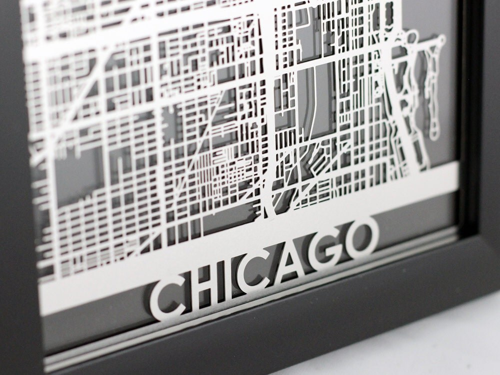 Laser Cut Wall Art chicago illinois stainless steel laser cut map 5x7