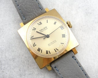 Vintage 1970's Gruen 25J Wrist Watch, Gray Leather Wrist Watch L0KTQM