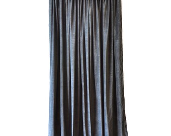 heavy thick black cotton velvet curtain panel 96 inch long drape custom made size thermal energy