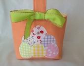 Pretty Children's / Girls Fabric Easter Basket, Easter Bag, Applique Easter Egg Design