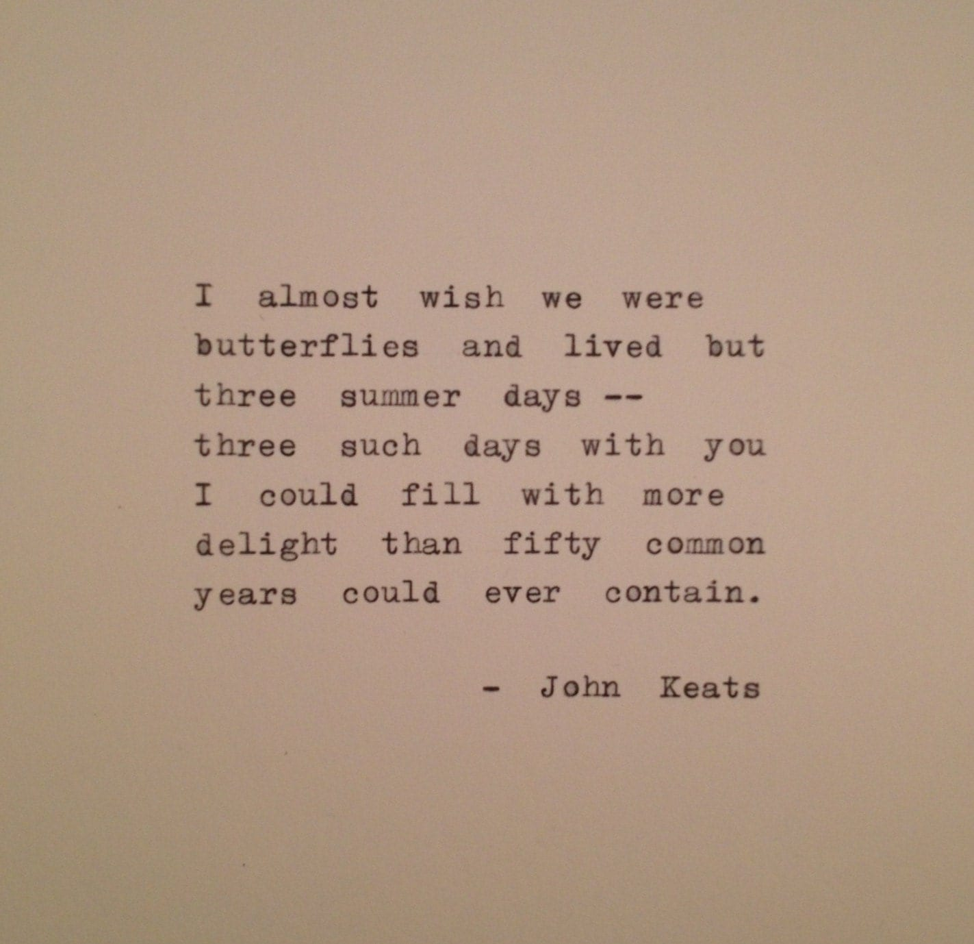Poem Quotes: John Keats Quote Typed On Typewriter / Typewriter Poem