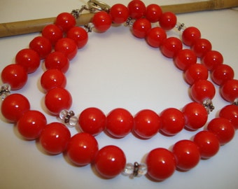 Vintage Red Coral Color Round Stone Beads Handmade Women Necklace Charming