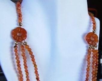 Carnelian triple strand necklace. 0287NK