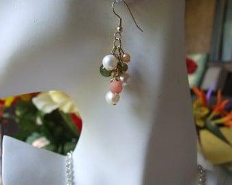 Freshwater pearl, jade and peach quartz cluster  earrings 0645EA