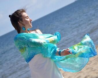 Hand painted silk scarf, hand dyed silk shawl, hand painted scarf, long scarf, women scarf, turquoise blue art scarf, silk accessories, gift