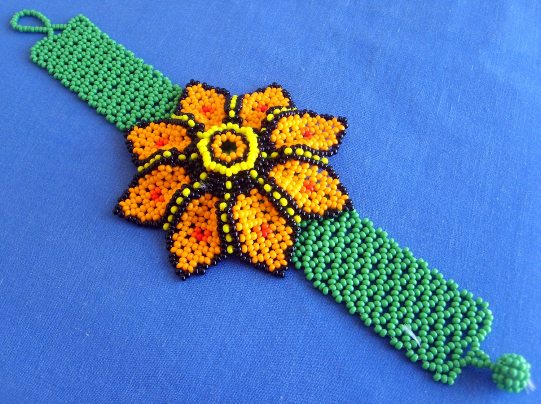 mexican huichol beaded flower bracelet