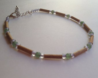 Hazelwood anklet bracelet with green aventurine