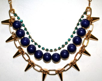 Navy & Teal Rhinestone Spiked Necklace