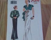 """1930s Style Art Deco Evening Gown Sewing Pattern """"Retro '35 Butterick 6410"""" Uncut"""