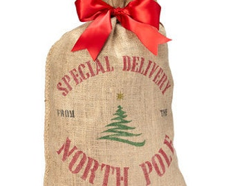 Special Delivery Burlap Christmas Sack - Tree