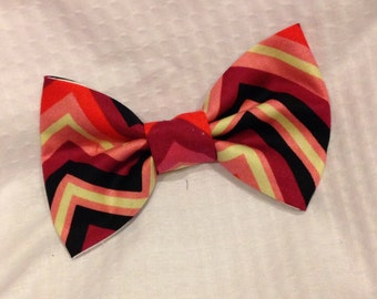 Chevron Valentine's Day Bow Tie- Valentine's Day Hair Bow-Pink, Purple and Black Bow-  Baby, Toddler, Child