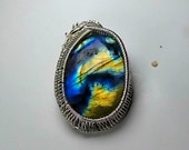 Full Flash Spectrolite/Labradorite Hand Made Wire Wrapped Pendant.