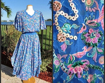 DIANE FREIS vintage 80s 1980s Dress // Beaded Sequined // fits S-M // Made in Hong Kong