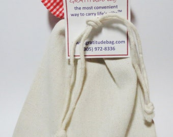 GRATITUDE bag - Red Gingham top and DIY bottom- Contains 36 GRATITUDE cards and a pen