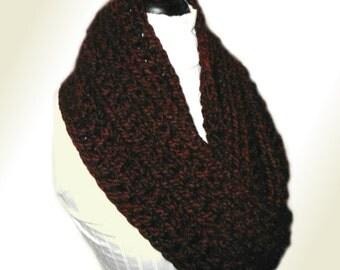 BURGUNDY INFINITY SCARF Wine Infinity Scarf Knit Burgandy Scarf Infiniti Loop Scarf Chunky Crochet Scarves Soft Wool in Dark Burgundy Claret