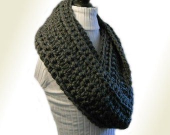 GRAY INFINITY Scarf Cowl Extra Long Crochet Infiniti Loop Circle Scarf Charcoal Dark Gray Hand Made in USA Super Soft Gift Idea