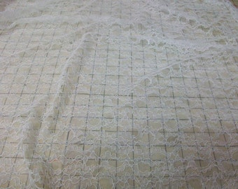 Ivory Bridal Lace Fabric lightly corded for bridal, craft or apparel on sale