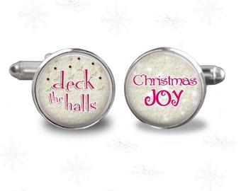Christmas theme -joy-deck the halls- mens cuff links- cufflinks- christmas gift