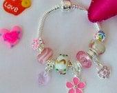 childs silver pink crystal hearts charm bracelet  Daisy Butterfly Handbag or Stelleto shoe