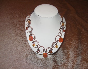 Copper Hoop Chain and Orange Crystals