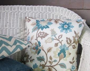 Teal Aqua Seafoam Floral Pillow Cover Botanical Decorative Throw Accent Taupe Brown 16x16 18x18 20x20 22x22 12x16 12x18 12x20 14x22 Zipper