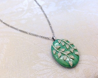 Green Leaf Necklace Teal White Leaves