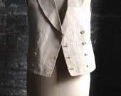 Stripes blue and white  vintage men's vest with buttons - Twenties Gatsby