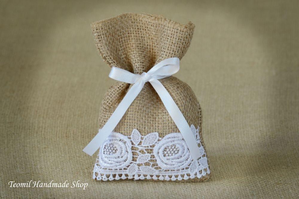 Burlap Candy Bag Wedding Favor Bag Thank you bag Lace