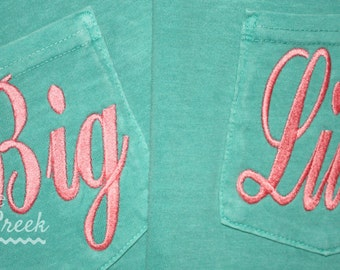 Big Little Sorority Shirts Reveal Unisex Short Sleeve Pocket Tee Big Little - Big Little Sorority Gift Bid Day