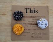 Fabric rosette bobby pins set of 3