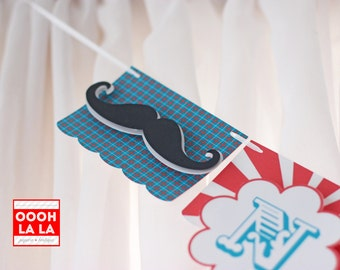 MADE TO ORDER Mustache First Year Photo Banner with Clips in red and teal