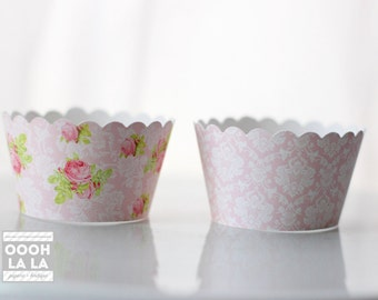 MADE TO ORDER Precious and Pink Cupcake Wrappers- Set of 12