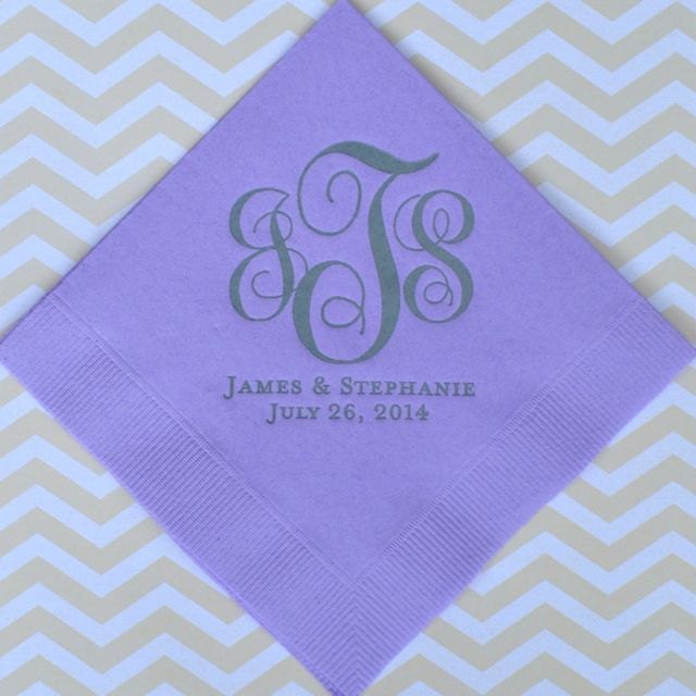 personalized monogrammed wedding napkins custom napkins gold